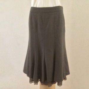 Ann Taylor taupe flared wool skirt 8